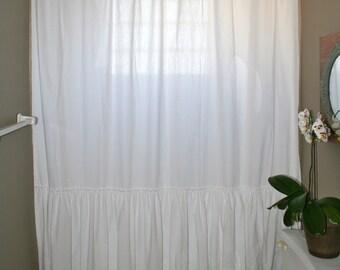 Custom Shower Curtain  White Single Long Ruffle Shabby Chic  Farmhouse Chic  Boho Chic Coastal Cottage Country Cottage Beach