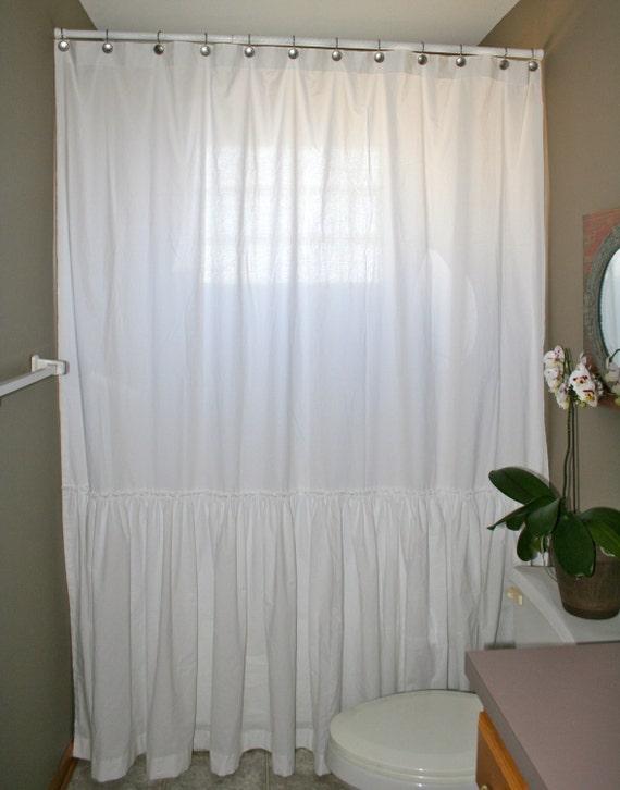 custom shower curtain white single long ruffle shabby chic farmhouse chic boho chic coastal cottage country