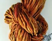 Bulky handspun yarn Mossy Gold think n thin knitting supplies wool