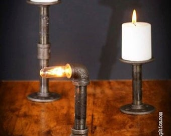 Modern Industrial Pipe steam punk candle holder 2 in 1 styles