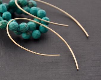 """Modern Gold Hoop Earrings, Futuristic Hook Hoop, Gold Wire Earrings, Thin Delicate Hoop, Gold Ear Threader,  1 1/2"""", 2"""""""