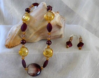Chunky HandCrafted Purple and Gold Chunky Beaded Necklace - Earrings