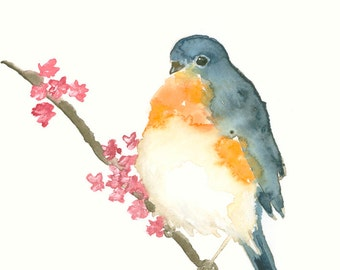 Bird Watercolor Original Artwork Blue Orange Bird