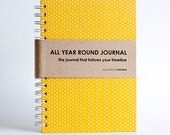 All Year Round Timeless Journal / Planner (Self-filled dates, fabric wrapped) - Yellow Polkadots