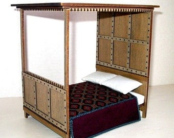 Medieval Canopy Bed, Rustic Dollhouse Miniature 1/12 Scale, Hand Made