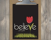Christian Gift, Scripture Art, BELIEVE (john 3:16) Bible verse