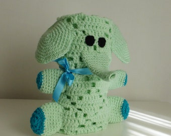 Crochet Blanket Pattern - Elephant amigurumi toy & baby security blankie - newborn baby shower nursery gift -  Instant DOWNLOAD
