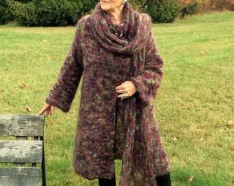 Hand Knit, Stylish, Original, Mohair Knit Coat, Hat & Shawl, Ensemble, Size: 10 - 14, Free Shipping in U.S.