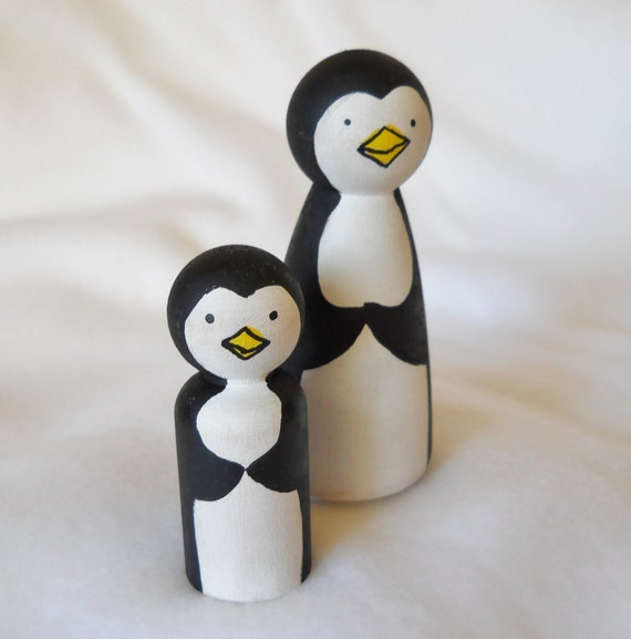 Penguin Peg Dolls, Penguin Ornaments, Penguin Toy, Waldorf, Home Decor, stocking stuffers