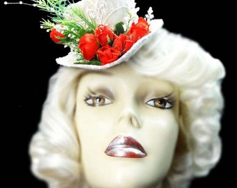 Rose Garden Mini Victorian Steampunk Bride Fasinator Bridal Wedding Top Hat
