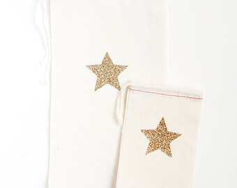 Gold and Silver Glitter Star Favor/Gift Cloth Bags  - Available in Three sizes Small/Medium/Large