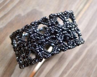 Black and Gunmetal  Seed Bead Beadwoven Cuff Bracelet