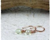 prehnite and rose gold fill drop earrings - tiny