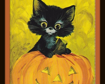 Retro Halloween Kitty- 1970s Vintage Postcard- Black Cat- Jack O'Lantern- Carved Pumpkin- Hallmark Greeting- Oversized Card- Paper Ephemera