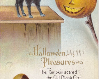 Halloween Pleasures- 1910s Antique Postcard- Pumpkin Scared The Old Black Cat- Screaming Chestnut- E. Nash- Paper Ephemera- Used
