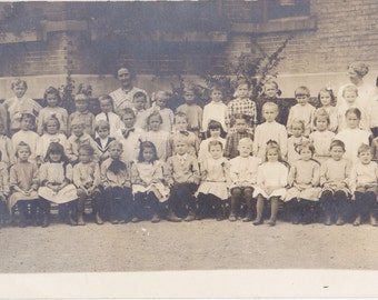 Miss Fiedler's Class- 1910s Antique Photograph- First Grade School Children- Edwardian Classmates- Real Photo Postcard- RPPC- Paper Ephemera