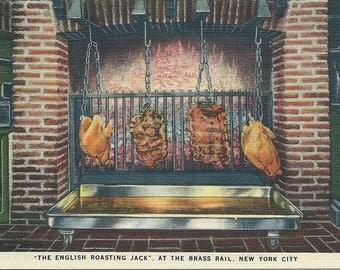 Vintage 1940s New York Postcard The Brass Rail