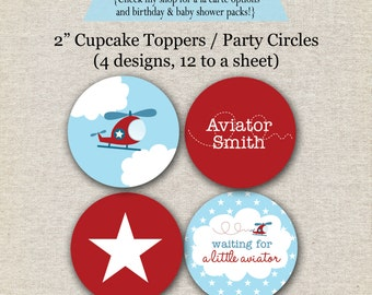 Helicopter Party Circles Baby Shower stickers, labels, digital, printable, etc.