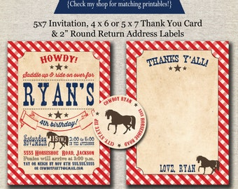 Cowboy Invitation, Thank You Card, Return Address Labels - red and blue   Cowboy Birthday Party Baby Shower Printables
