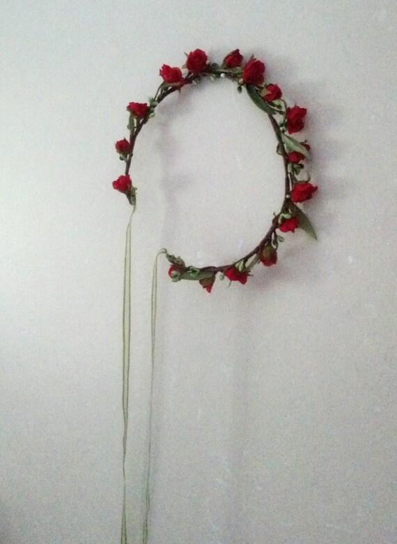 Bridal Flower Wreath For Hair : Red flower crown wedding hair wreath by budgetweddingbouquet