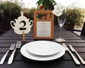Menu or Program Card, Tea Time Themed Wedding, English Style Event, Tea Set, Birthday Party Decoration, Cutout Scrapbook, Papercut by Naboko