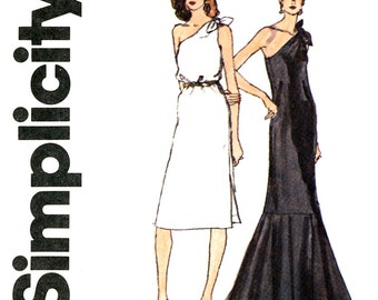 1980s Dress Pattern Bust 34 Simplicity 9804 One Shoulder Evening Sheath Dress Ruffled Fishtail Mermaid Hem Womens Vintage Sewing Patterns