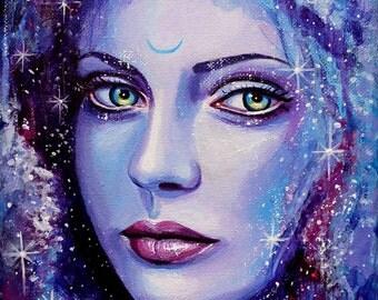 "8 x 10, Fine Art Print, ""Estelle"", painting by Kamille Freske, fantasy art, surreal, fantasy portrait, wicca, fairy art, pagan, goddess art"