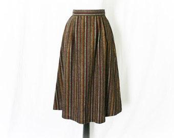 Vintage 70s Striped Wool Skirt S Burgundy Knee Length Office Secretary