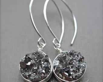 Silver Druzy Earrings, Gray Druzy Gemstone Earrings in Sterling Silver, Wire Wrapped Druzy Earrings