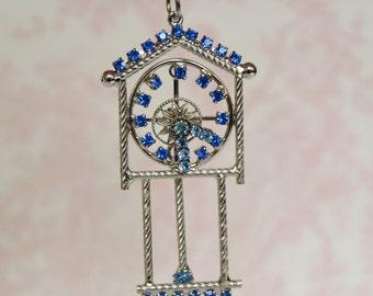 Vintage Blue Rhinestone Clock Pendant Necklace