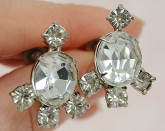 Vintage Screw-Back Earrings with Clear Rhinestones