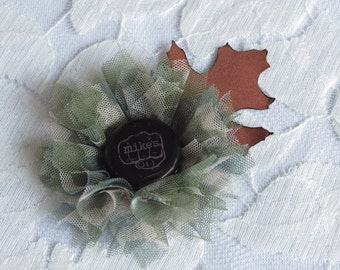 Camouflage Fabric Flower Boutonniere - Camo Collection - Redneck Wedding - Backwoods Wedding - Choose Your Colors & Brew!
