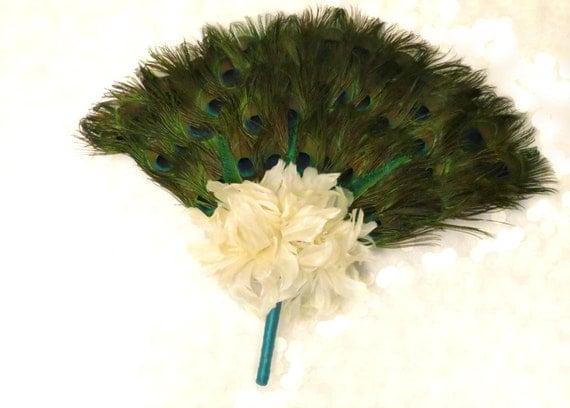 Peacock Feather Fan Bridal Bouquet - Peacock Collection - Peacock Wedding - Alternative Wedding Flowers