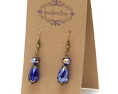 Blue shade iridescent glass bead earrings with filigree - special holiday price!  gifts under 10
