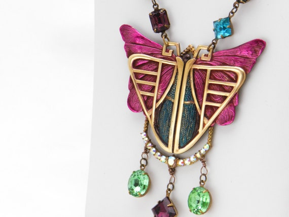 Art Deco Butterfly Necklace - OOAK handpainted with vintage glass gems