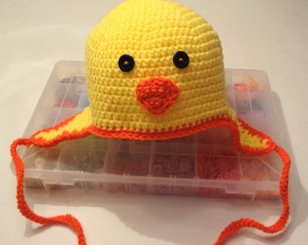Baby Chick Hat with Earflaps (fits babies to adult) - Yellow with orange trim