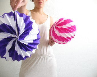 Set of 2 mexican origami paper lamp shade -purple and hot pink whirl-