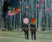 Unusual Surreal Vintage Paper Collage, One of a Kind Green Blue and Pink Bird Art, Geometric Colorful Art
