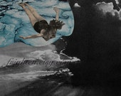 Surreal Collage Art, Paper Collage Print, Black and Blue, Woman Swimming, Unusual Art Print