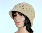Hat, Tan Beige crocheted Hat, Knit Cap