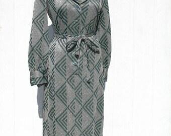 60s Maxi Dress * Mad Men Dress * 1960s Dress * Metallic Dress * Green and Pink Dress * Geometric Pattern * Mod Dress * Kimberly