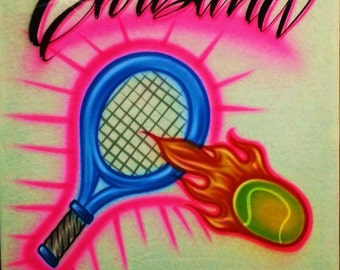 Airbrush T Shirt with Tennis Racket and Name, Airbrush Tennis Shirt, Tennis Shirt, Tennis, Airbrush Shirt, Tennis Racket Shirt, Airbrush