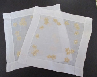 Small Linen Mats Vintage Hand Worked White Linen Mat Small Embroidered Square Linens Doilies YourFineHouse Vintage Treasures