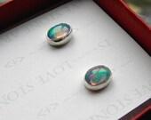 Ethiopian Opal Post Earrings, AAA+ 6mm x 8mm Natural Opal Cabochons in Sterling Silver E134
