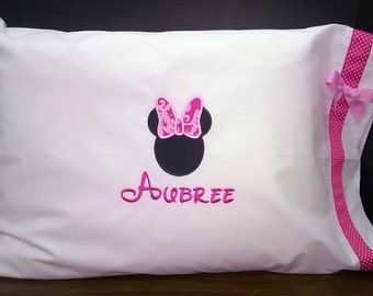 Set of 2 Minnie Mouse Pillowcases in Pink