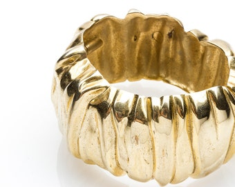 Textured Light Gold Alligator Cuff Vintage Bracelet | Metal Metallic Snap Statement Jewlery Arm Candy Band Layering Accent Piece Bold | 16S