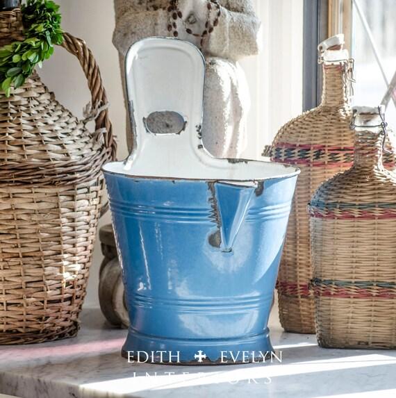 Antique french milk bucket blue enamel directly from europe for European steel enamel bathtub