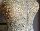 Wedding Dress Crystal beaded sequined Ginger Rogers 1930s Champagne chiffon ballgown