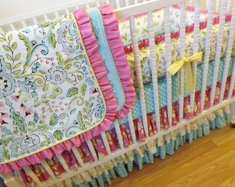 Girl Crib Bedding- Baby Bedding- MADE TO ORDER- Lovebird Bedding-- 4 pc Crib Bedding Set Lovebirds Bedding