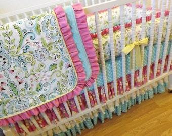 Crib Bedding- MADE TO ORDER--Baby Bedding-- 4 pc Crib Bedding Set Lovebirds Bedding